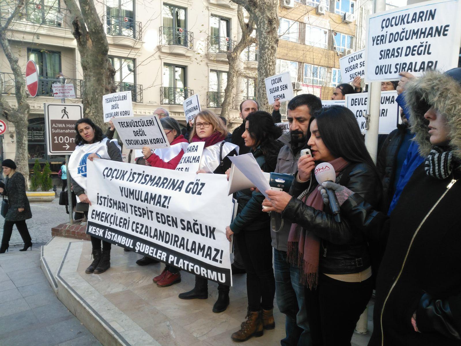 KESK İstanbul Şubeler Platformu: Çocuk İstismarına Göz Yumulamaz, İstismarı Tespit Eden Sağlık Emekçileri Cezalandırılamaz!