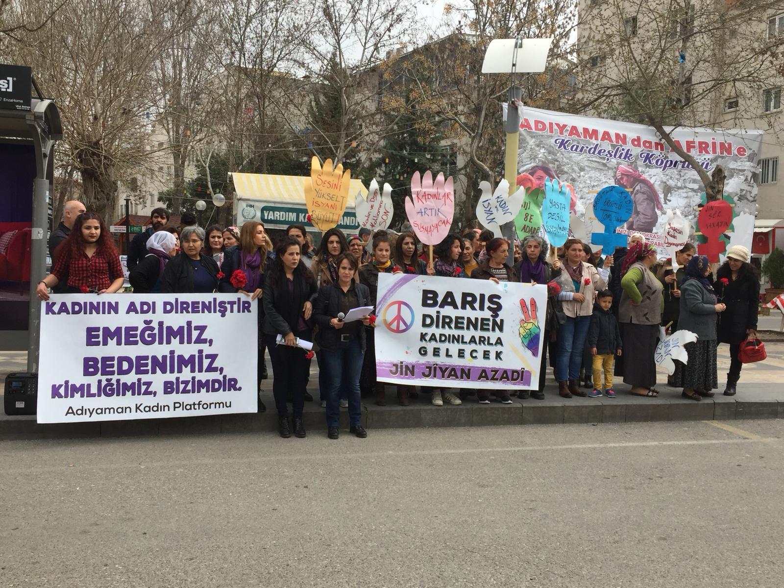 Adıyaman'daki 8 Mart'ta Barış Talebi Öne Çıktı