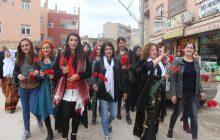 Nusaybin'de Kadınlara Karanfil Dağıtıldı
