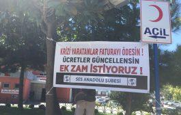 Göztepe EAH'de Krize Karşı Taleplerimizi İçeren Pankart Asıldı