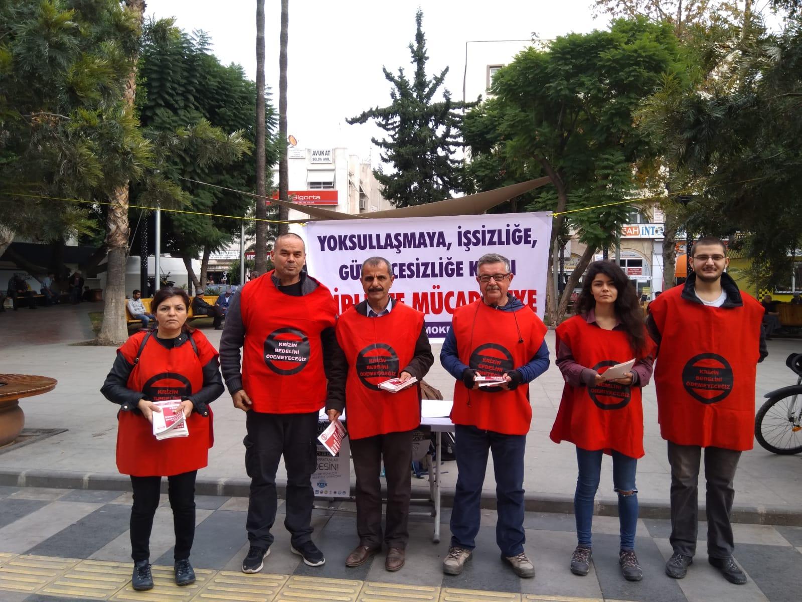 """Mersin Emek ve Demokrasi Platformu """"Krizin Bedelini Ödemeyeceğiz"""" Bildirisi Dağıttı"""