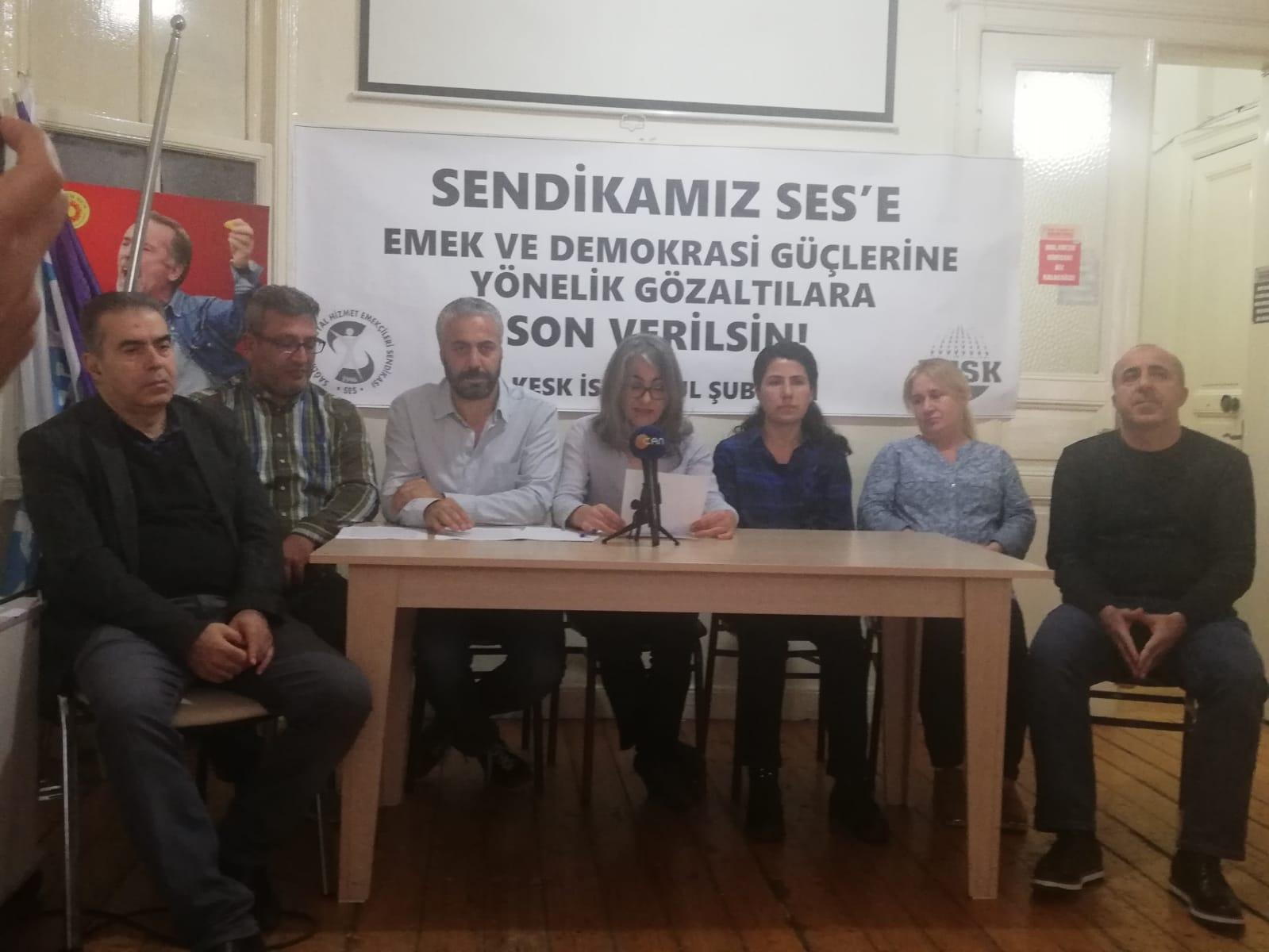 KESK İstanbul Şubeler Platformu: Sendikamız SES'e, Emek ve Demokrasi Güçlerine Yönelik Gözaltılara Son Verilsin