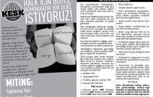 KESK Bölge Mitingleri İçin Yerellerde Bastırılmak Üzere Hazırladığı El Bildirisini Yayınladı