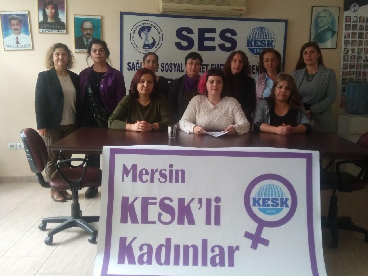 """Mersin'de KESK'li Kadınlardan """"Kadın ve Eşitlik Bakanlığı Kurulsun"""" Açıklaması"""