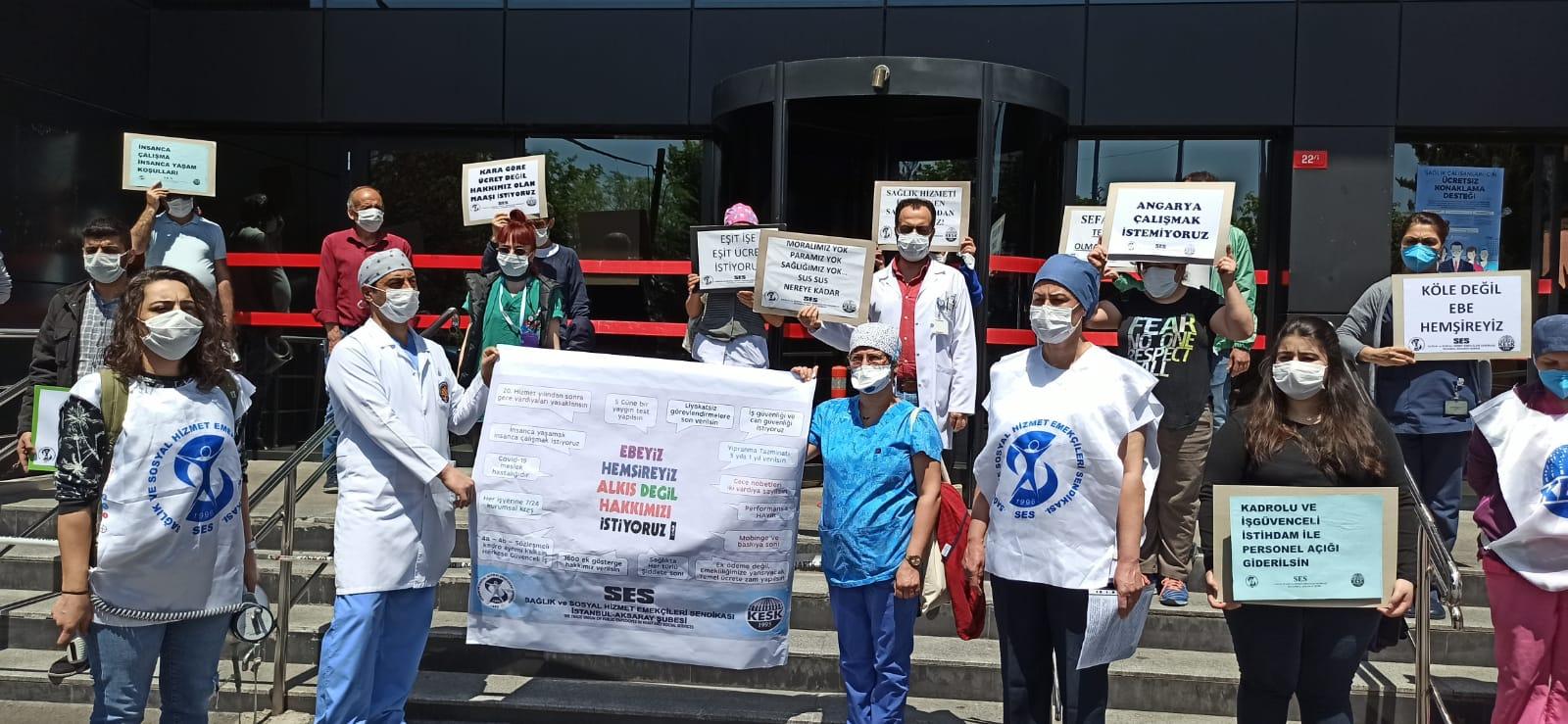 İstanbul Aksaray Şubemiz Ebe ve Hemşirelerin Hakları İçin Hastane Önünde Eylem Yaptı