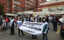 Sağlık Emekçileri Göztepe Eğitim ve Araştırma Hastanesi Önünde Taleplerini Yineledi: Performans Adaletsizliğine Son, Herkese Temel Ücret