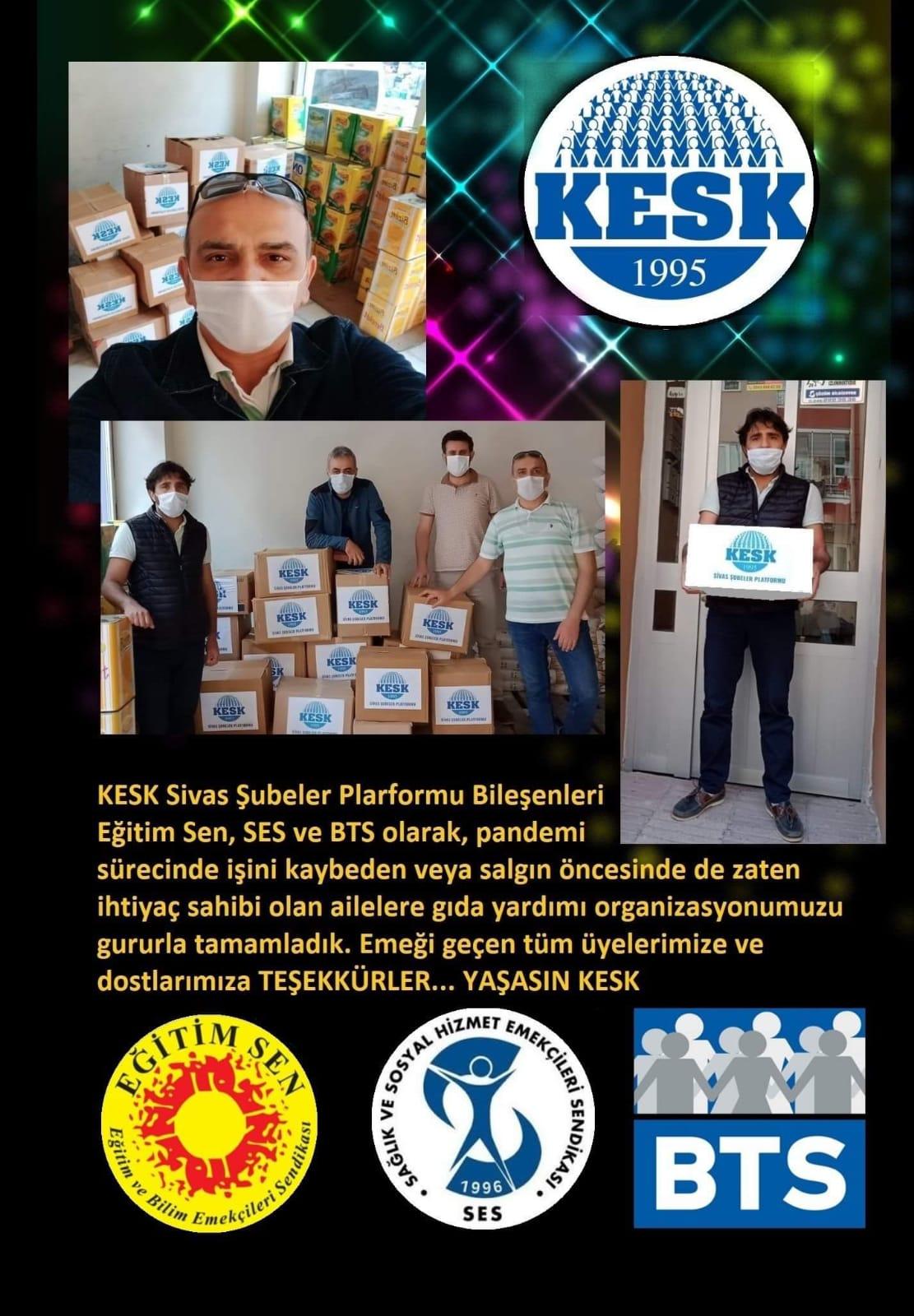 Sivas Şubemiz ile Sivas Eğitim-Sen ve BTS Şubeleri İhtiyaç Sahiplerine Gıda Yardımı Yaptı