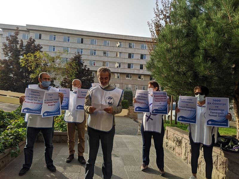 Hacettepe Üniversite Hastanesi Önünde Performansa Karşı Açıklama Yapan Ankara Şubemiz: Hayatlarımız ve Emeğimiz Pazarlık Konusu Değildir
