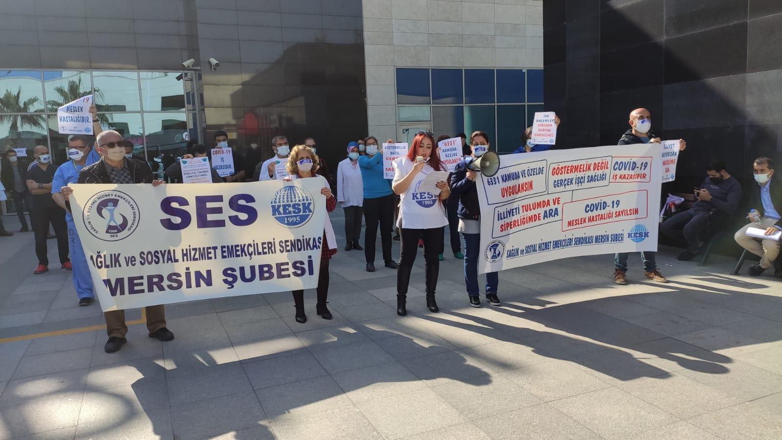 Mersin Şubemizden Şehir Hastanesi Önünde Eylem