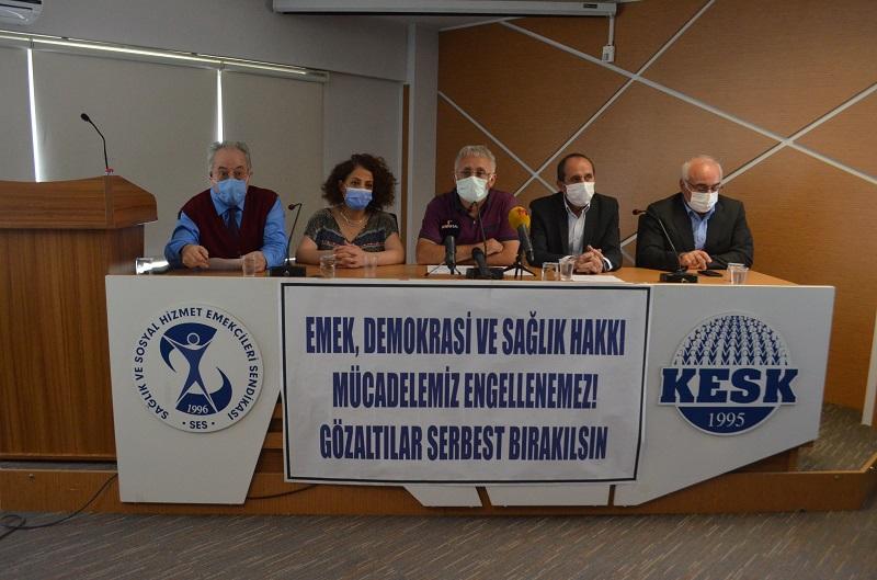 Emek, Demokrasi ve Sağlık Hakkı Mücadelemiz Engellenemez. Gözaltılar Serbest Bırakılsın!