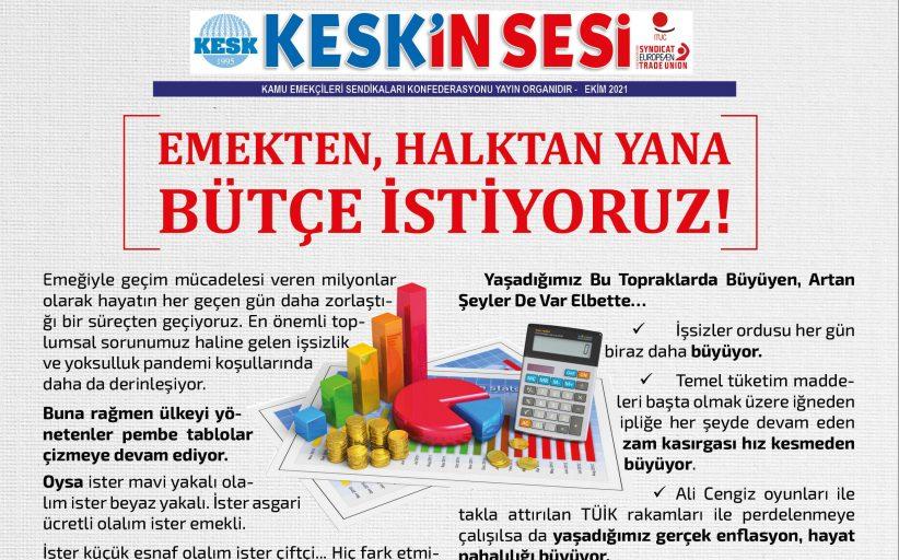 KESK: Emekten, Halktan Yana Bütçe İstiyoruz!